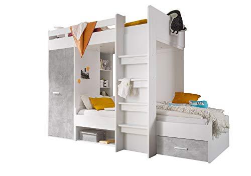 Jugendmöbel24.de Etagenbett Nils 90'200 inklusive Kleiderschrank + Schubkasten + Regale + Lattenrostplatte weiß/Beton Kinderzimmer Doppelbett Hochbett