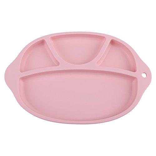 Placas de silicona, Re-Play Placas divididas Alimentando la vajilla BPA Free Dishwasher Micro Nevera Caja fuerte antideslizante Niños irrompibles Bandeja de alimentación con divisores(Pink)