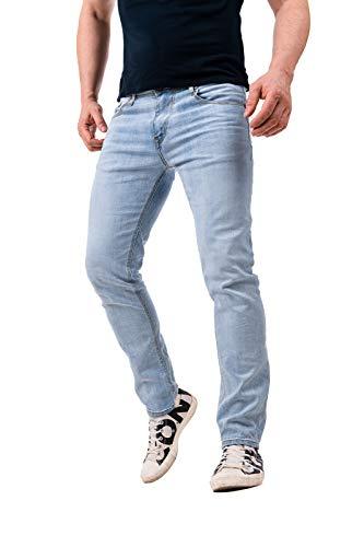 Instinct Jeans Uomo Strappato Strappati Slim Fit Estivi Elasticizzati Denim Skinny Cotone WA96 (46, Blu Light)