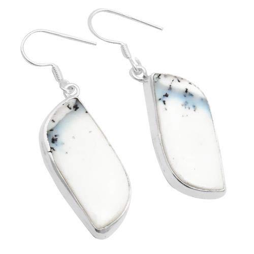Silver Palace Pendientes colgantes de plata de ley 925 con ópalo de dendrita natural para mujeres y niñas