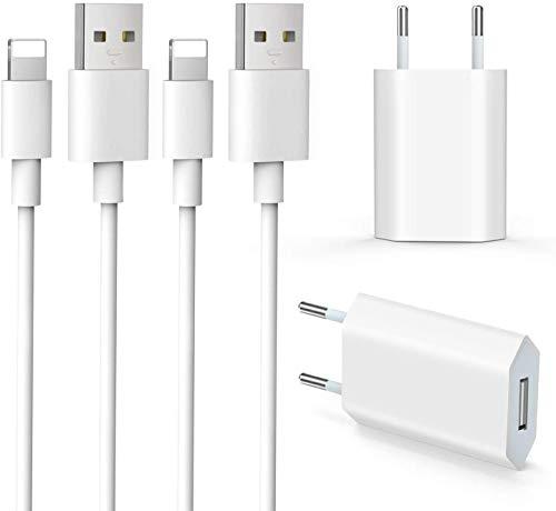 Everdigi Cargador Enchufe Adaptador USB + Cable de Carga para Phone 5 6 S 7 8 X S Plus 1m (Dos Cargadores + Dos Cables 1M)