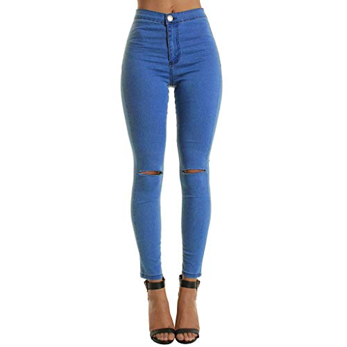OYSOHE Jeans Hosen für Damen, High Waist Slim Jeanshose Casual Einfarbig Denim Hosen Skinny Jeans Hoher Bund(Blau,XXL)