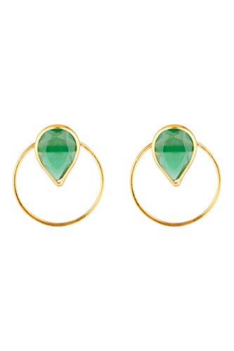 Córdoba Jewels | Pendientes en plata de ley 925 con piedra semipreciosa bañada en oro con diseño Circle Lágrima Esmeralda Gold