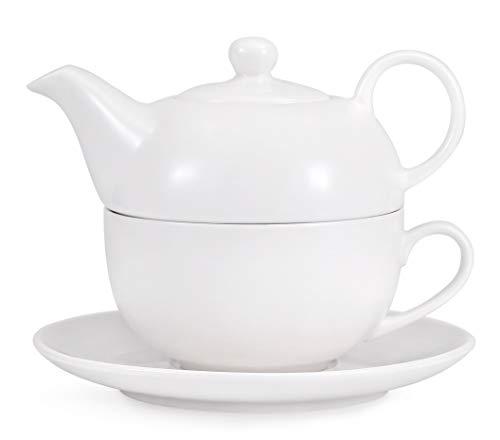 Urban Lifestyle Tea 4 One/Tea for One Set 0,4 L Porzellan Teekanne Set für eine Person bestehend Einer weißen Teekanne, Einer Teetasse und einem Unterteller