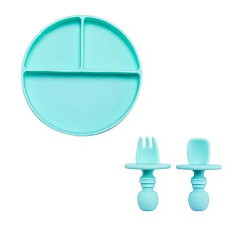 ZAIZAI Silicone Dinner Plate Food Tableware Bowl Spoon Set Dinner Plate Non-slip Feeding Plate Fruit Plate Dessert Plate (Color : Blue, Size : B)