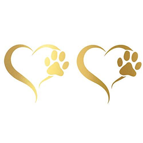 Finest Folia 2er Set Aufkleber Pfote und Herz 10x11cm Hund Katze Sticker für Auto Motorrad Wand Laptop Möbel Pfotensticker Hundepfote selbstklebend (K017 Gold)