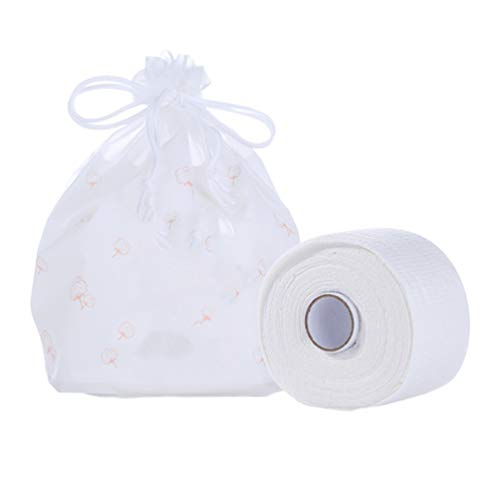 PIXNOR wegwerpreiniging gezichtsdoek katoenen washandje zakdoek gezichtsreiniger voor vrouwen meisjes thuis op reis gezicht washanddoek wit 1roll / 60 stuks