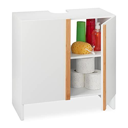 Relaxdays Mueble bajo para Lavabo (60 x 60 x 30 cm, 2 Compartimentos, Madera de DM y bambú, Armario Inferior para el baño, Color Natural, Blanco/Crema