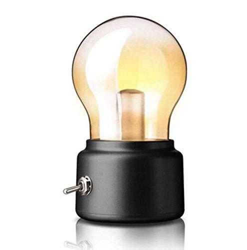Tesysyet Lámpara de escritorio retro de carga bombilla luz de noche USB luz de ambiente de noche