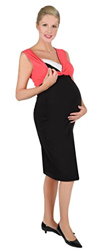 Be! Mama 2in1 Wende-Kleid, Umstandskleid, Stillkleid, Modell: DOUBLE, schwarz-koralle - 2
