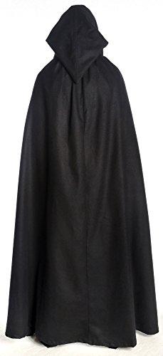 HEMAD Mittelalter Umhang mit Kapuze Wollfilz schwarz, braun, beige, rot, blau (One Size, schwarz) - 5