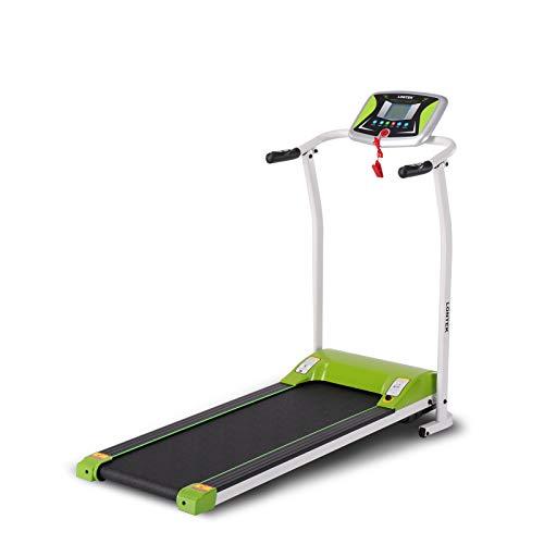 Cinta de correr plegable Lontek 502, frecuencia cardíaca, con pantalla LED, cinta de correr motorizada con velocidad de hasta 12 km / h, 12 programas, verde