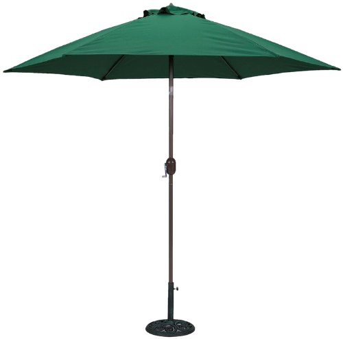 TropiShade 9 ft Bronze Aluminum Polyester Market Umbrella with Green Polyester Cover (Base not included)