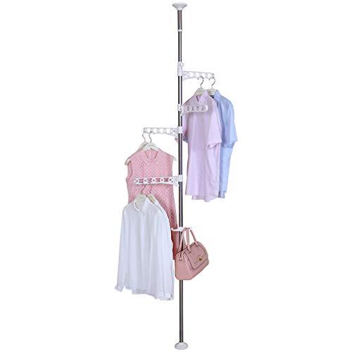 Hershii Kleiderständer für den Innenbereich, freistehend, zur Aufbewahrung von Kleidung, Teleskop-Spannstange, DIY Boden bis Decke, Wäscheständer, Organizer-System, höhenverstellbar elfenbein