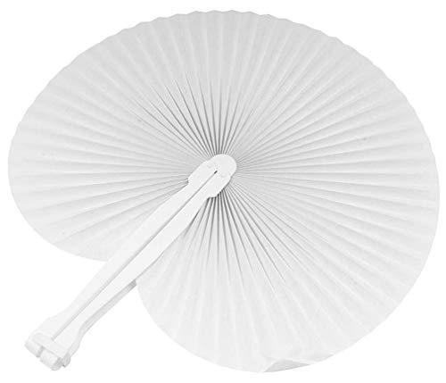 100 pezzi ventagli ventaglio da borsetta matrimonio segnaposto bomboniera wedding manico in plastica e chiusura a gancio 7 colori (bianco)