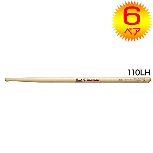 【6ペア】Pearl パール 110LH ヒッコリー ドラムスティック クリアヘビーラッカーフィニッシュ [14.5x398]