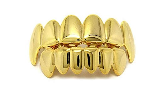 Lingduan 18K Gold Plated Hip Hop Removeable Mouth Grillz Set Removeable Fake Teeth Set Top and Bottom Denture Halloween Vampire Teeth Silver Flat Fake Teeth Set (Gold)
