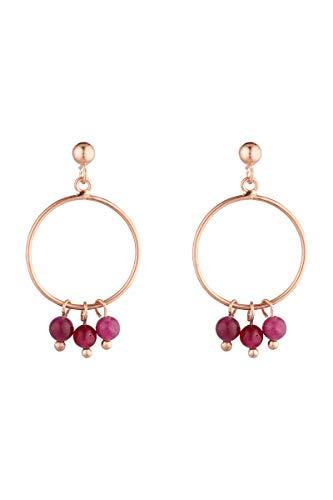 Córdoba Jewels   Pendientes en plata de ley 925 bañada en oro rosa con piedra semipreciosa con diseño Circle Frambuesa Rose Gold