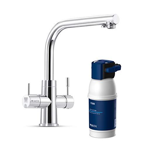 BRITA Armatur mit integriertem Wasserfilter WD 3020, 3 Wege Wasserhahn mit Filter zur Reduzierung von Kalk, Chlor und geschmacksstörenden Stoffen im Leitungswasser