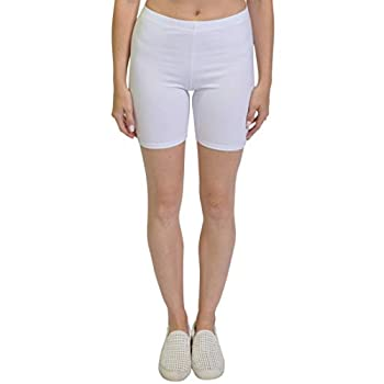 Stretch is Comfort Women s Cotton Stretch Workout Biker Shorts Large White
