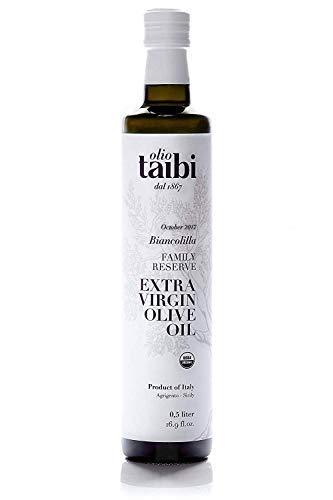 Olio Taibi Award-Winning Organic Extra Virgin Olive Oil, Monocultivar 'Biancolilla', Single Sourced Sicily, Italy, High Polyphenols, Unrefined, Large 16.9 Fl Oz