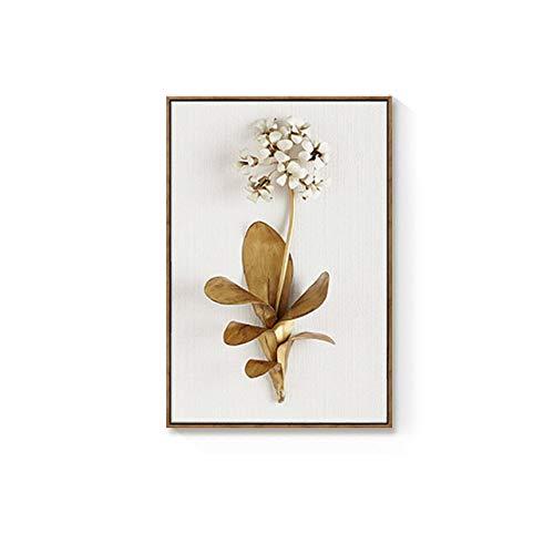 Lienzo de Arte de Pared con Hojas y Flores de Planta Dorada, Cuadros de Pared para Sala de Estar, Cuadros de decoración nórdica, decoración Moderna(No Frame)