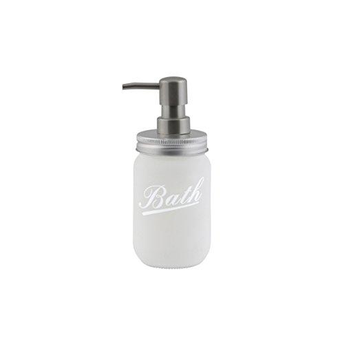 axentia Seifenspender Retro weiß, leicht nachfüllbarer Flüssigseifen-Spender aus Glas mit satinierter Dosierpumpe, Seifenbehälter mit ca. 450 ml Fassungsvermögen