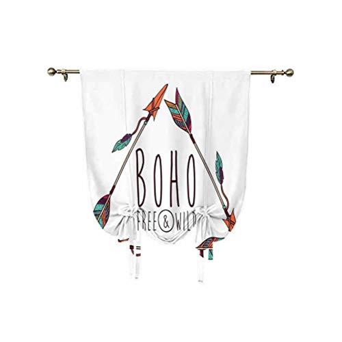 Albert Lindsay Backdrop Arrow Decor - Cortina romana, 3 flechas étnicas antiguas tribales en forma de triángulo geométrico, diseño bohemio, con aislamiento térmico, 137 x 150 cm, para ventanas de casa