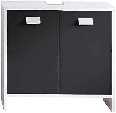 Top Meuble Sous Vasque Sous Lavabo Salle de Bain avec Etagères Blanc Noir 60 x 30 x 56 cm