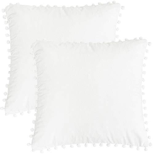PICCOCASA Paquete de 2 Almohada Funda con Pompones Suave Terciopelo Decorativo Cojín Cubiertas Sólido Cuadrado Almohada Funda Cubierta para Sofá Blanco 18x18Pulgadas