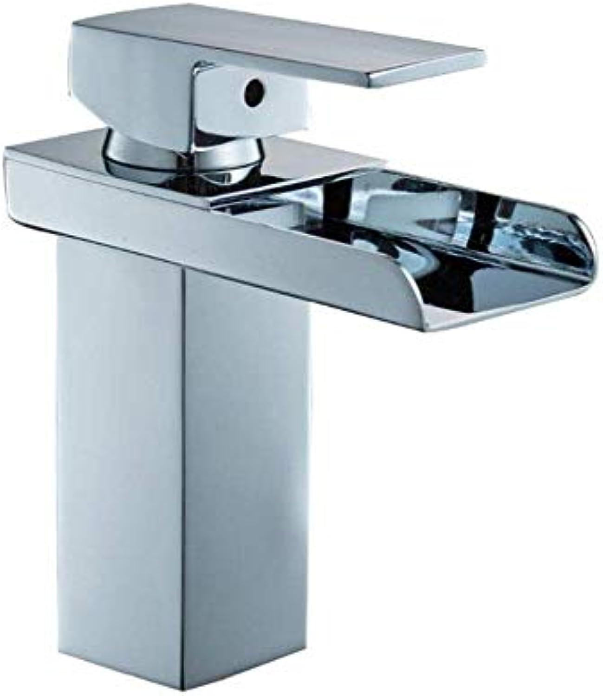 MWPO Badzubehr, einfach zu bedienen und benutzerfreundlich Bad Becken Einlochmontage Wasserfall Warm- und Kaltwassermischer Kupfer Waschbecken Wasserhahn