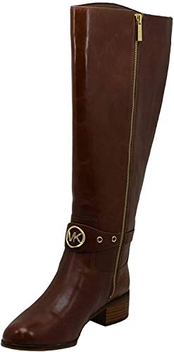Michael Kors Womens Preston Leather Riding Boots Brown, 5.5