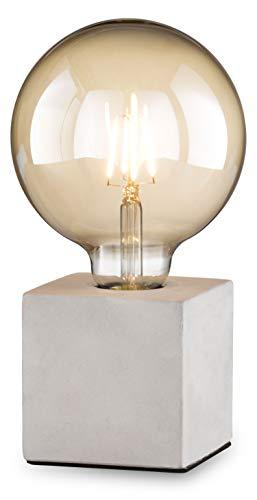loxomo - Beton-Würfel Tischleuchte, 9 x 9 x 9 cm, Beton Tischlampe mit E27 Fassung, bis max.60W, Dekoleuchte für Edison retro industrial Glühbirnen, IP20, Beton Grau