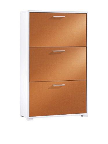 FMD Möbel Scarpiera, MDF, Bianco/Arancione, 14 x 40 x 136 cm