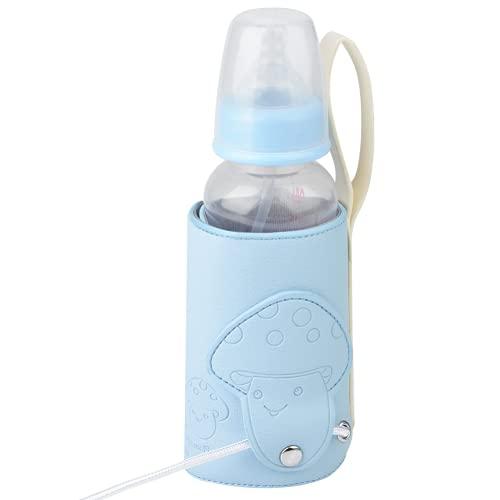 Calentador de biberones para automóvil, esterilizador de biberones de viaje con temperatura de bloqueo de cuatro capas para tazas de agua(azul)