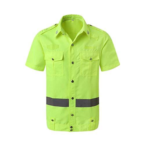 DBSCD Sicherheitsweste für Männer, Sicherheitskleidung Hemd Reflektierende Kleidung Sicherheitst-Shirt Overalls Kurzarmgelb (XL)