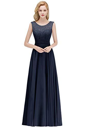 Babyonlinedress® Hochwertig Damen Rundhals Spitzen Abendkleid Ballkleid mit feiner Blumenstickerei Bodenlang Navyblau 32