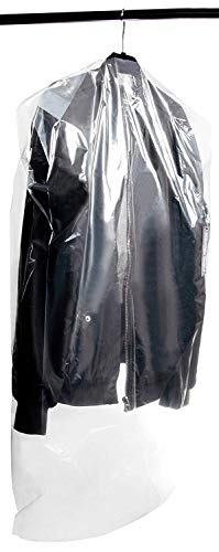 Juvale Dry Cleaner Bags - 50-Pack Garment Dry Cleaning Cover Bags - Gusseted Hanger Bags for Bulky Clothes, 39.7 × 21.3 Inches, 4 Inches of Gusset
