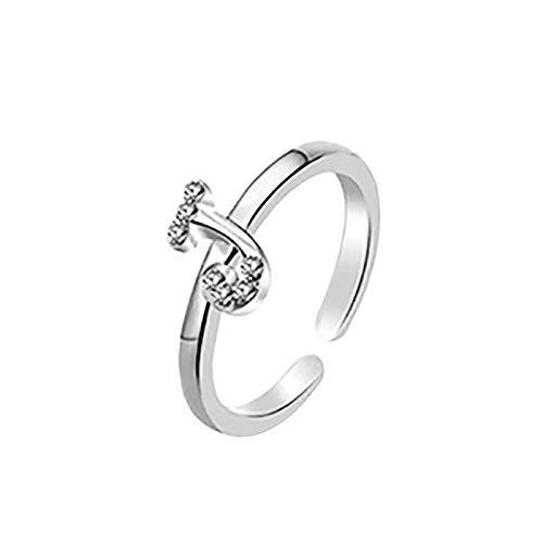 Janly Clearance Sale Anillos para mujer, anillo de letras 26 letras inglesas, diseño de combinación de diamantes, regalo de pareja, conjuntos de joyas, día de San Valentín (J)