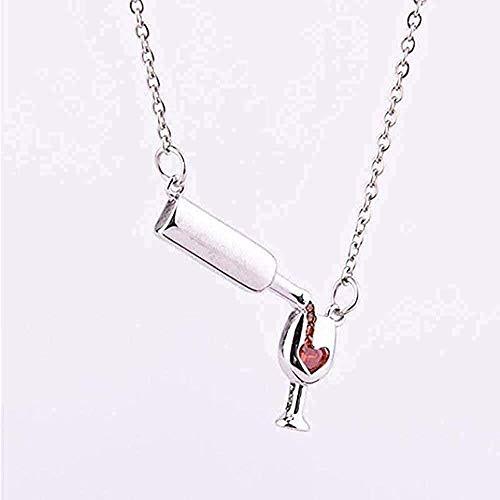 LBBYLFFF Collar Collar con Colgante de Copa de Vino Simple Collar de Botella de Cerveza para Mujer Collar de Regalo