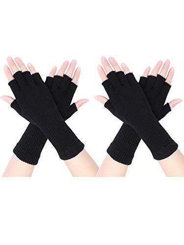 2 Paar Unisex Fingerlose Handschuhe Half Finger Dehnbar Strick Handschuhe Verlängern Handgelenk Handschuhe Winter Warme Handschuhe (Schwarz)