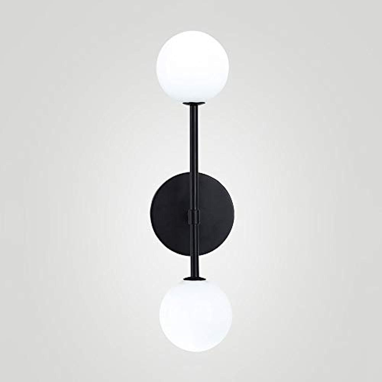 Dicai Moderne einfache glas wandleuchte 2- lichter leselampe wohnzimmer wandleuchte schlafzimmer nachttischlampe hause lichter g9 basis wandleuchte eingangsgang 2- arm lampen (Farbe   schwarz)