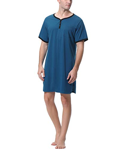 Sykooria Camisa de Dormir para Hombre Pijama Top Camisón de Algodón Ligero Suave Camisón de Manga Corta Ropa de Dormir