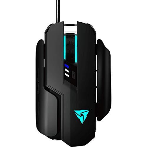 ThunderX3 TM55 - Mouse da gioco meccanico professionale (sensore ottico, interruttore Omron, 7200 dpi, illuminazione Hex RGB, pannello laterale intercambiabile) Colore nero
