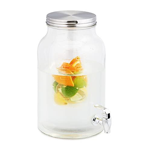 Relaxdays Getränkespender 6 Liter, mit Zapfhahn & Einsatz für Früchte, Glas, Edelstahldeckel, Gartenpartys, transparent