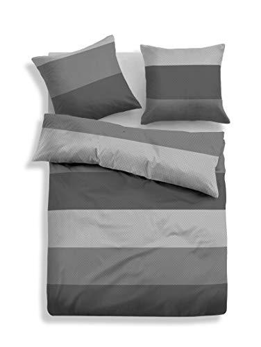 TOM TAILOR Unisex Heimtextilien & Bettware Gemusterte Flanell-Bettwäsche grau/Grey,135/200