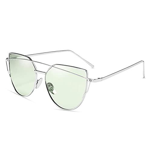 Gafas De Sol Diseñador De La Marca Gafas De Sol De Ojo De Gato para Mujer Gafas Reflectantes De Metal Vintage para Mujer Espejo Retro C13-Plata-Verde