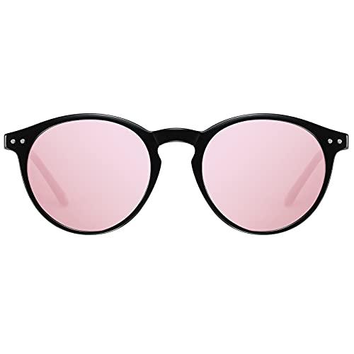 H HELMUT JUST Gafas de Sol Para Mujer Polarizadas Redondas Vintage Rosa Espejodas TR90 y Acetato lente Anti UVA UVB Reflejos