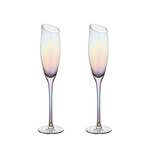 Hs&sure Gafas de Champagne, Copas de Vino de Cristal Conjunto de 2,...