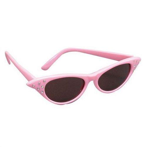 Damskie dziewczyny z lat 50-tych rocka retro smar pudel szalik okulary fantazyjny kostium różowy okulary przeciwsłoneczne